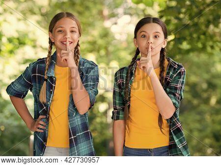 Silence Is Golden. Little Children Put Fingers On Lips. Silence Concept. Making Hush Sign. Quite Sou