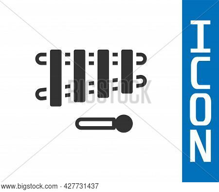 Grey Xylophone - Musical Instrument With Thirteen Wooden Bars And Two Percussion Mallets Icon Isolat