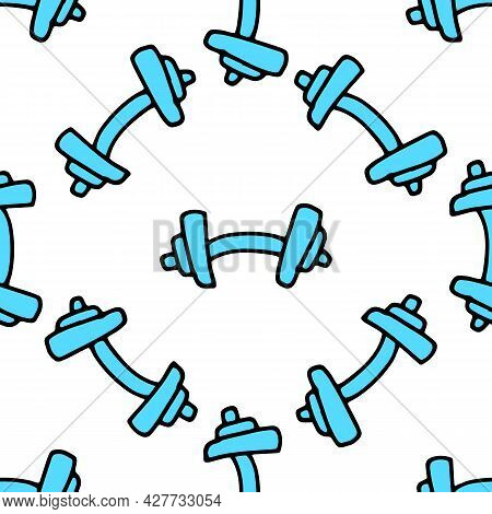 Vector Pattern Of Blue Dumbbells Randomly Arranged On A White Background In Different Directions. Se