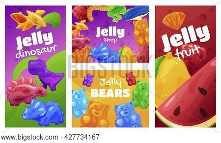 Collection Of Jelly Shop Vertical Poster And Horizontal Banner Vector Flat Illustration Gummy Sweets
