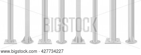 Collection Of Realistic Metal Poles Vector Illustration. Set Of Glossy Steel Pipes, Chrome Pillars