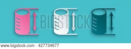 Paper Cut Height Geometrical Figure Icon Isolated On Blue Background. Abstract Shape. Geometric Orna