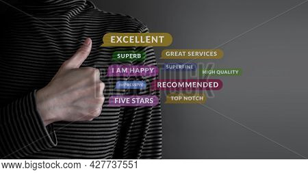 Customer Experience Concept. Happy Client Giving Excellent Services Rating For Satisfaction By Thumb