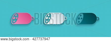 Paper Cut Salami Sausage Icon Isolated On Blue Background. Meat Delicatessen Product. Paper Art Styl