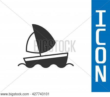 Grey Yacht Sailboat Or Sailing Ship Icon Isolated On White Background. Sail Boat Marine Cruise Trave