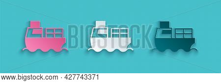 Paper Cut Cargo Ship With Boxes Delivery Service Icon Isolated On Blue Background. Delivery, Transpo