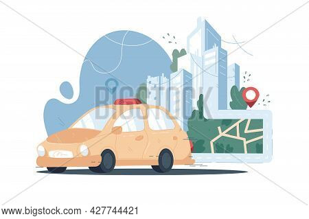 Taxi Service Online App Vector Illustration. Yellow Taxi Cab And Online City Map With Location Pin O