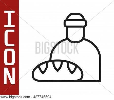 Black Line Feeding The Homeless Icon Isolated On White Background. Help And Support. Giving Food To