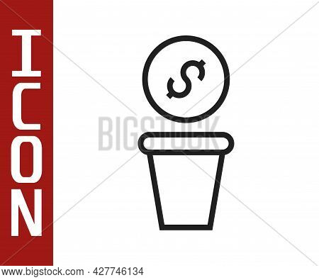 Black Line Donation Money Icon Isolated On White Background. Hand Give Money As Donation Symbol. Don