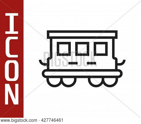 Black Line Passenger Train Cars Toy Icon Isolated On White Background. Railway Carriage. Vector