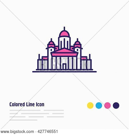 Vector Illustration Of Helinski Cathedral Icon Colored Line. Beautiful Tourism Element Also Can Be U