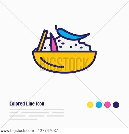 Vector Illustration Of Moroccan Couscous Icon Colored Line. Beautiful World Cuisine Element Also Can