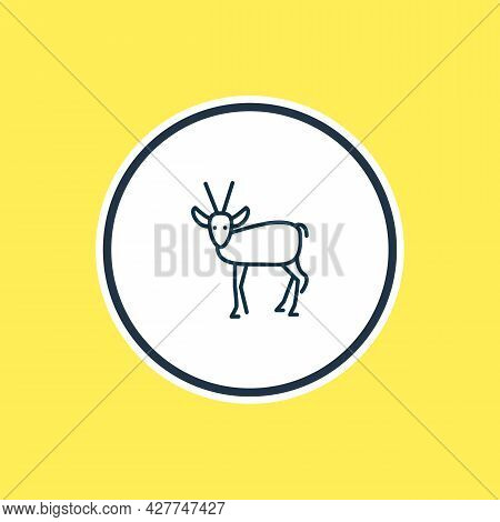 Vector Illustration Of Antelope Icon Line. Beautiful Animals Element Also Can Be Used As Gazelle Ico