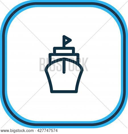 Vector Illustration Of Ship Icon Line. Beautiful Transit Element Also Can Be Used As Vessel Icon Ele
