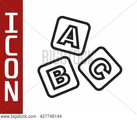 Black Line Abc Blocks Icon Isolated On White Background. Alphabet Cubes With Letters A, B, C. Vector