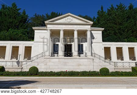 Suresnes, France-july 18 , 2021 : The War Memorial Of Suresnes American Cemetery . It Located Just O