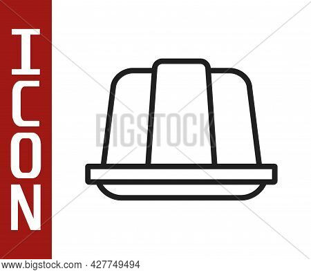 Black Line Jelly Cake Icon Isolated On White Background. Jelly Pudding. Vector