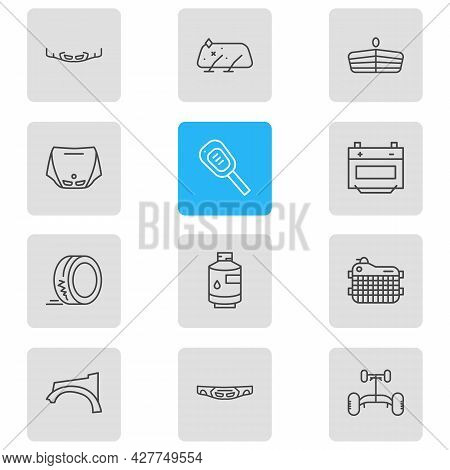 Illustration Of 12 Vehicle Icons Line Style. Editable Set Of Header Panel, Car Key, Fenders And Othe