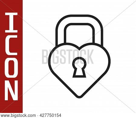 Black Line Castle In The Shape Of A Heart Icon Isolated On White Background. Locked Heart. Love Symb