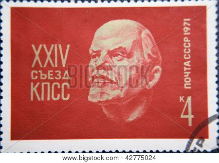 RUSSIA - CIRCA 1971: stamp printed by USSR shows sculpture portrait of Socialist leader Lenin