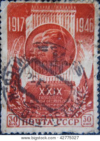 RUSSIA - CIRCA 1946: stamp printed by USSR shows portraits of Socialist leader Stalin & Lenin