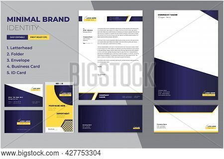 Modern Corporate Brand Identity Set With Letterhead, Business Card, Identity-id Card, And Folder Moc