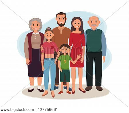 Happy Family Are Standing Together. Vector Illustration Of Smiling Grandparents, Parents And Childre