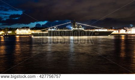 July 21, 2021, Russia, St. Petersburg. Night View Of The Frigate Of The Far Sea Zone Admiral Of The