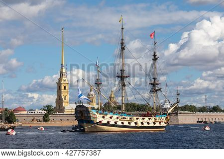July 21, 2021, Russia, St. Petersburg. View Of The Ship-museum Poltava The First Linear 54-gun Ship