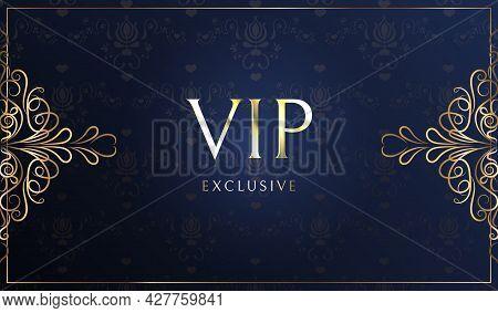 Vip Card Vectors. Gold Card. Blue Lilac Gradient Geometric Ornament Pattern In Oriental Style. Backg