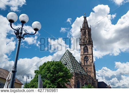 Bolzano, Italy, June 2021. View Of The Magnificent And Elegant Cathedral, Beautiful Summer Day. Nobo