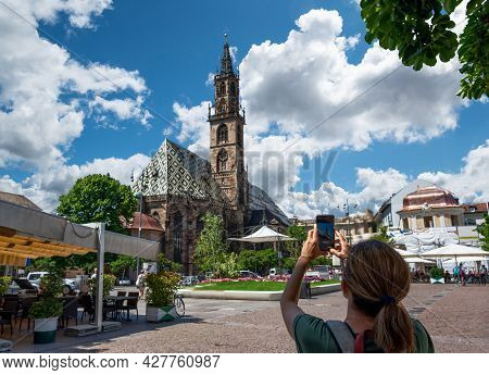 Bolzano, Italy, June 2021. View Of The Magnificent And Elegant Cathedral, Beautiful Summer Day. A Mi