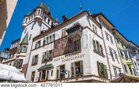 Bolzano, Italy, June 2021. The Torgglhaus Restaurant