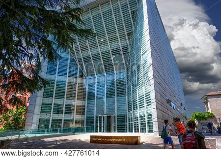 Bolzano, Italy, June 2021. The Museum Of Modern Art Is Housed In A Futuristic Metal And Glass Struct