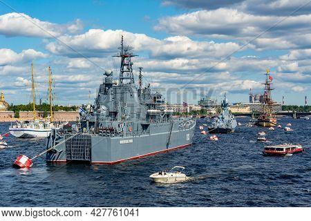 Saint Petersburg, Russia - July 2021: Battleship On Neva River During Day Of Russian Navy