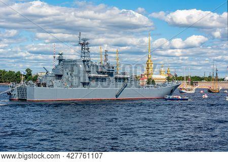 Battleship On Neva River During Day Of Russian Navy, Saint Petersburg, Russia