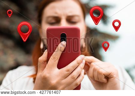 Traveler Woman Hands Use Map On Mobile Phone App To Search For Route Location Of Place With Gps On S