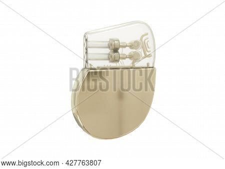 Artificial Cardiac Pacemaker Isolated On White Background. 3d Rendering