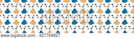 Seamless Cartoon Pet Cat Doodle Border. Whimsical Minimal 2 Tone Gender Neutral Color. Kids Nursery