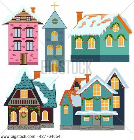 Set Of Isolated Decorated Buildings For New Year And Christmas. Building With Fir Tree At Yard, Cons