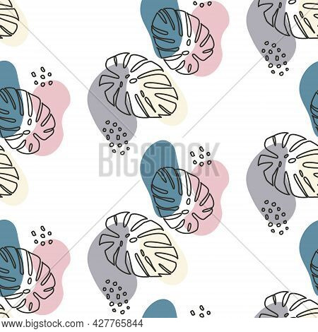 Black Outlines Of Monstera Leaves With Pastel Blue, Pink And Gray Spots Seamless Pattern. Pattern Wi