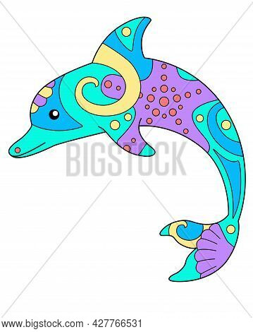 Bottlenose Dolphin - Vector Linear Full Color Zentangle Illustration - With Sea Animal Living In The