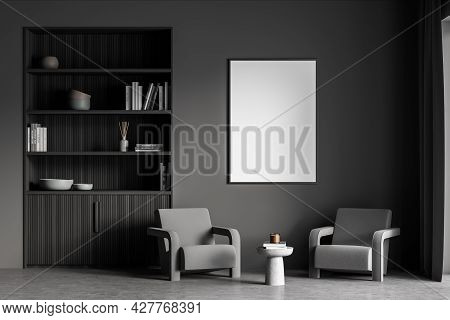 Vertical Banner In The Dark Grey Living Room With Two Armchairs, Niche Bookcase And Coffee Table. Da
