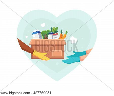 Food And Groceries Donation Illustration