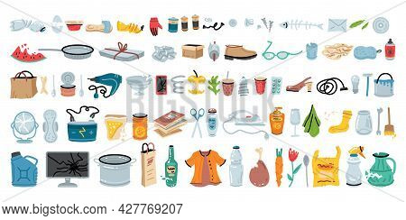 Set Of Various Garbage For Concept Design. Vector Illustration Design. Trash Sorting Collection.