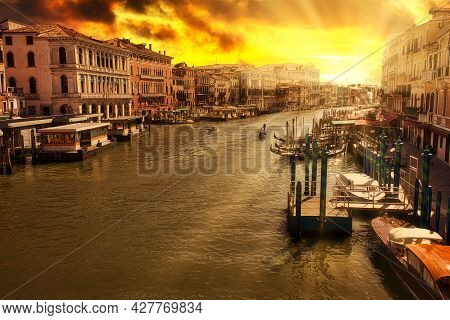 Sunset Aerial View Of Canal Grande From Rialto Bridge The Main And Biggest Bridge Of Venice City Of