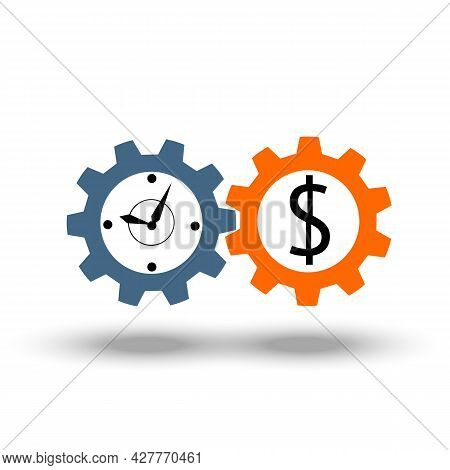 Time Is Money Business Icon Metaphor. Income Growth, Stock Market, Mutual Fund, Timer Of Financial M