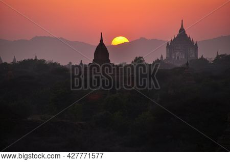 View Landscape With Silhouette Chedi Stupa Of Bagan Or Pagan Ancient City And Unesco World Heritage