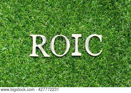 Alphabet Letter In Word Roic (abbreviation Of Return On Invested Capital) On Green Grass Background