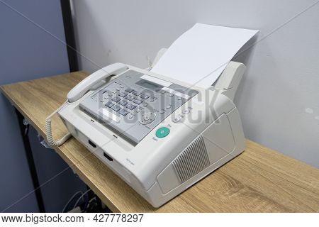 Fax Machine In The Office, Equipment For Data Transmission.
